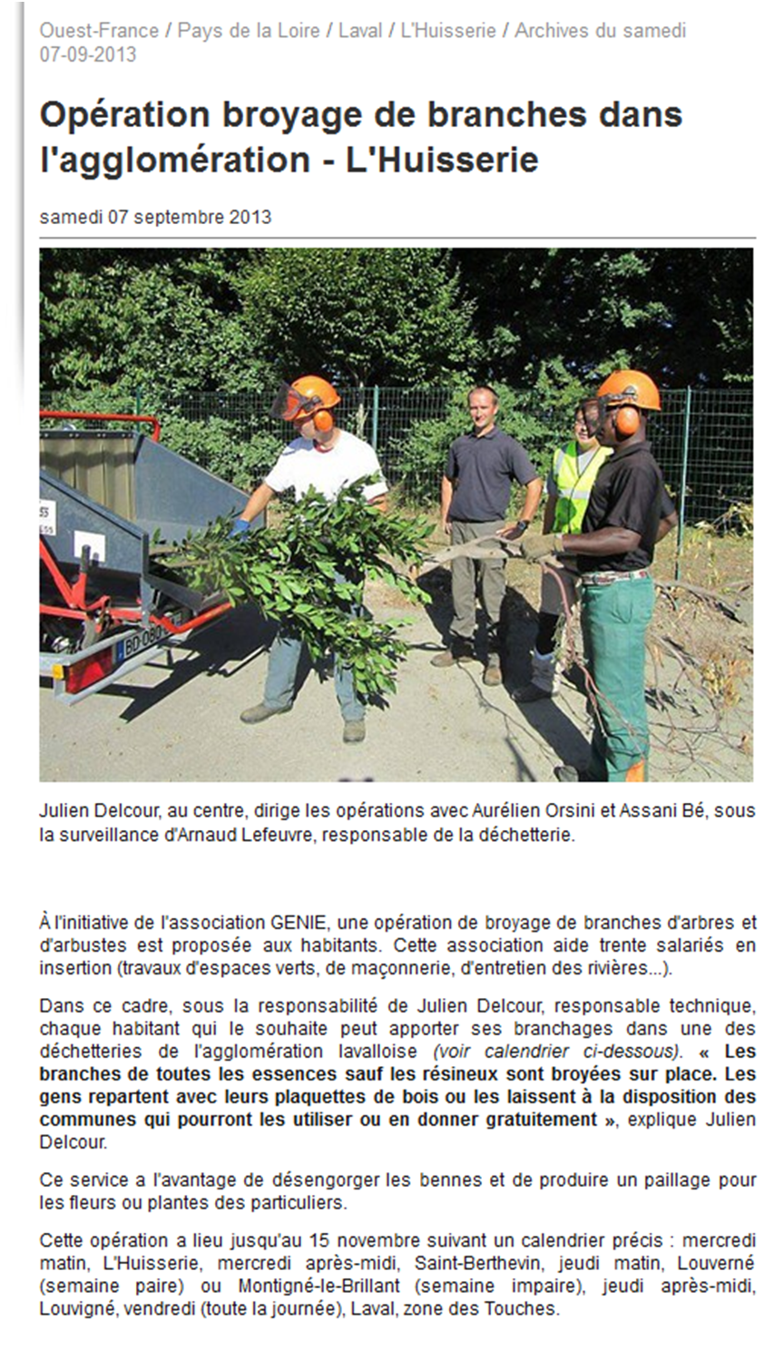 Article Ouest - France 07.09.2013